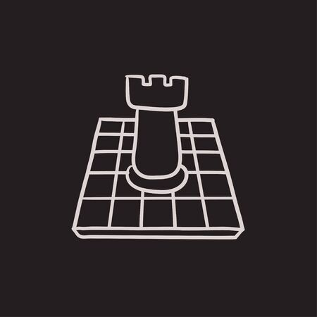 outwit: Chess vector sketch icon isolated on background. Hand drawn Chess icon. Chess sketch icon for infographic, website or app.
