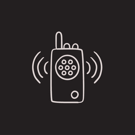 transmit: Radio set vector sketch icon isolated on background. Hand drawn Radio set icon. Radio set sketch icon for infographic, website or app.