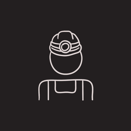 coal miner: Coal miner vector sketch icon isolated on background. Hand drawn Coal miner icon. Coal miner sketch icon for infographic, website or app.