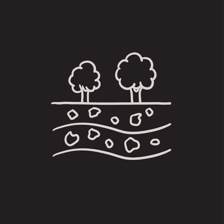 Cut of soil with different layers and tree on top vector sketch icon isolated on background. Hand drawn Cut of soil with different layers icon. Cut of soil sketch icon for infographic, website or app.