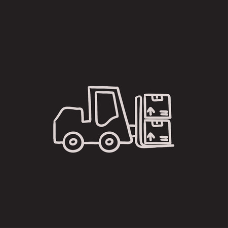 Forklift vector sketch icon isolated on background. Hand drawn Forklift icon. Forklift sketch icon for infographic, website or app. Illusztráció