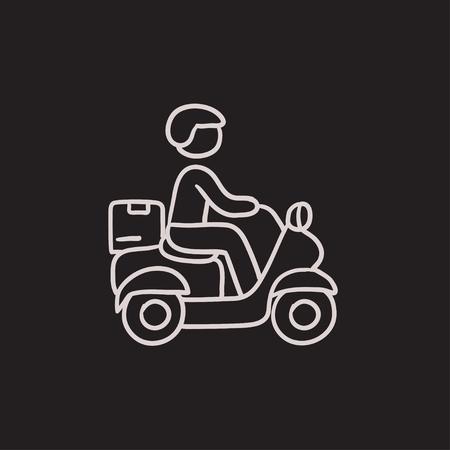 Man die goederen op de fiets vector schets pictogram op een achtergrond. Hand getrokken Man die goederen op de fiets icoon. Man die goederen op de fiets schets pictogram van infographic, website of app.