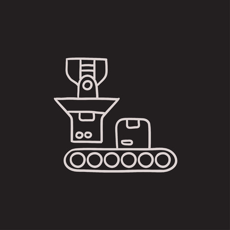 robotic: Robotic packaging vector sketch icon isolated on background. Hand drawn Robotic packaging icon. Robotic packaging sketch icon for infographic, website or app.