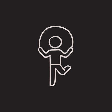 Child jumping rope vector sketch icon isolated on background. Hand drawn Child jumping rope icon. Child jumping rope sketch icon for infographic, website or app.