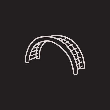 Jungle dibujo icono de gimnasia del vector aislado en el fondo. Dibujado a mano icono de gimnasia de la selva. Jungle dibujo icono de gimnasio para infografía, sitio web o aplicación. Foto de archivo - 63342811