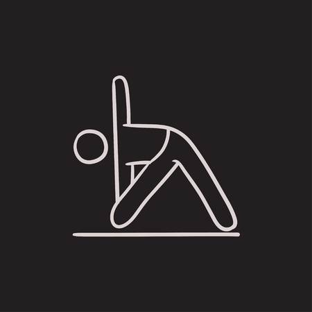 man meditating: A man meditating in triangle pose vector sketch icon isolated on background. Hand drawn man meditating in triangle pose icon. A man in triangle pose sketch icon for infographic, website or app. Illustration