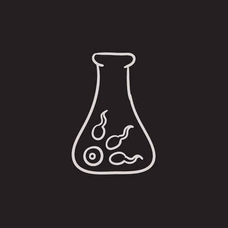 La fertilización in vitro dibujo icono del vector aislado en el fondo. En dibujado a mano icono de la fertilización in vitro. In vitro dibujo icono de la fertilización para la infografía, sitio web o aplicación. Vectores