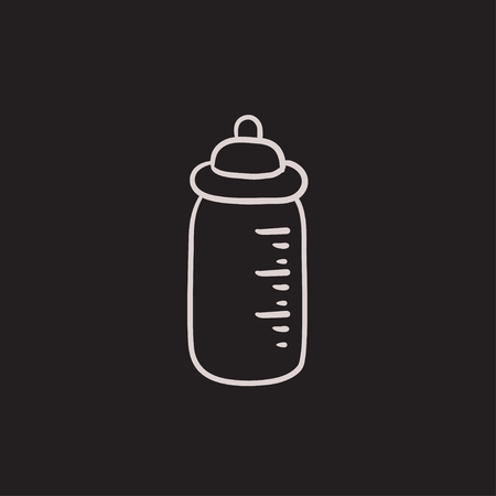 Feeding bottle vector sketch icon isolated on background. Hand drawn Feeding bottle icon. Feeding bottle sketch icon for infographic, website or app.