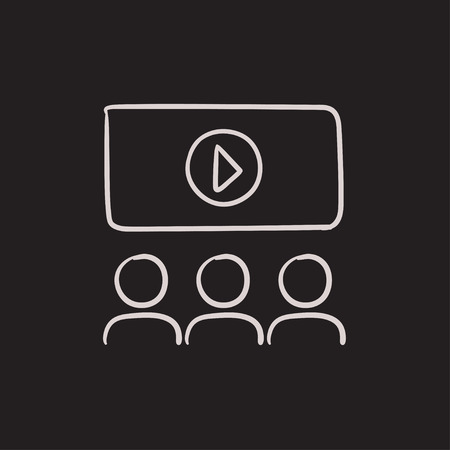 motion picture: Viewers watching motion picture vector sketch icon isolated on background. Hand drawn Viewers watching motion picture icon. Viewers watching motion picture sketch icon for infographic, website or app.