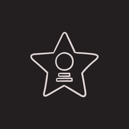 Cinema star vector sketch icon isolated on background. Hand drawn Cinema star icon. Cinema star sketch icon for infographic, website or app. 向量圖像