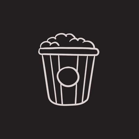 Icône de croquis de pop corn vecteur isolé sur fond. Icône de pop-corn dessiné à la main. Icône de croquis de maïs éclaté pour infographie, site Web ou application. Banque d'images - 63342922
