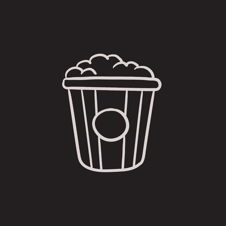 pop corn: Popcorn vector sketch icon isolated on background. Hand drawn Popcorn icon. Popcorn sketch icon for infographic, website or app.