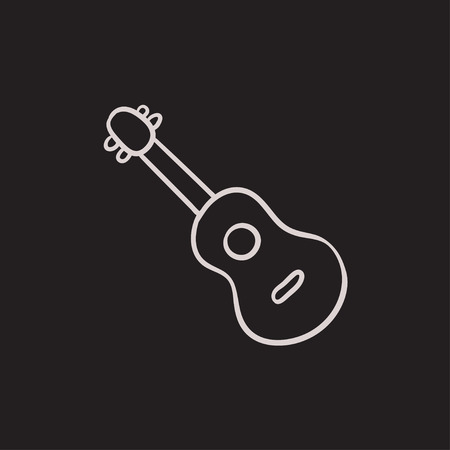 Guitar vector sketch icon isolated on background. Hand drawn Guitar icon. Guitar sketch icon for infographic, website or app. Illustration