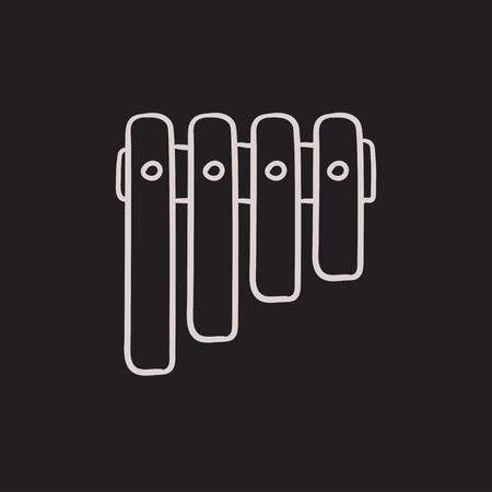 pan flute: Vibraphone vector sketch icon isolated on background. Hand drawn Vibraphone icon. Vibraphone sketch icon for infographic, website or app.