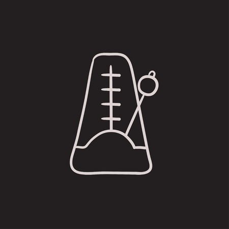 metronome: Metronome vector sketch icon isolated on background. Hand drawn Metronome icon. Metronome sketch icon for infographic, website or app. Illustration