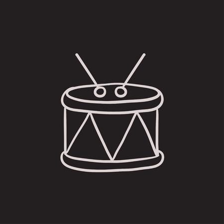 rhythm rhythmic: Drum with sticks vector sketch icon isolated on background. Hand drawn Drum with sticks icon. Drum with sticks sketch icon for infographic, website or app.