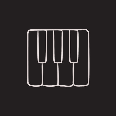 ivories: Piano keys vector sketch icon isolated on background. Hand drawn Piano keys icon. Piano keys sketch icon for infographic, website or app.