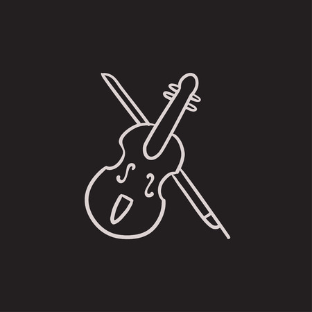 Violin with bow vector sketch icon isolated on background. Hand drawn Violin with bow icon. Violin with bow sketch icon for infographic, website or app.