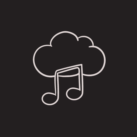 Cloud music vector sketch icon isolated on background. Hand drawn Cloud music icon. Cloud music sketch icon for infographic, website or app.