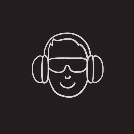 Man in headphones vector sketch icon isolated on background. Hand drawn Man in headphones icon. Man in headphones sketch icon for infographic, website or app. Ilustração