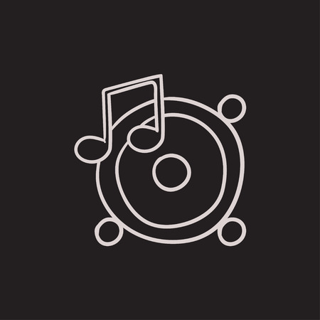 sub woofer: Loudspeakers with music note vector sketch icon isolated on background. Hand drawn Loudspeakers with music note icon. Loudspeakers with music note sketch icon for infographic, website or app.
