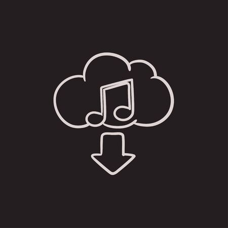Download music vector sketch icon isolated on background. Hand drawn Download music icon. Download music sketch icon for infographic, website or app. Illustration