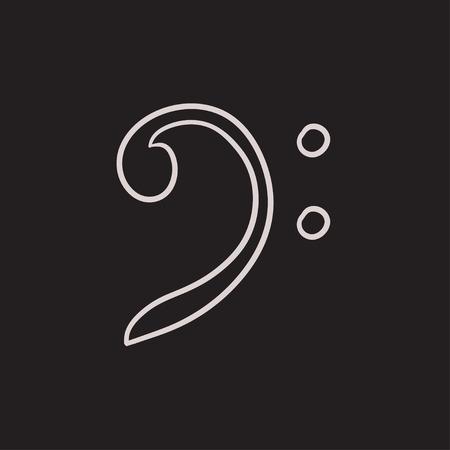 clave de fa: Bajo dibujo icono de la clave del vector aislado en el fondo. Dibujado a mano icono de la clave de Fa. Bajo dibujo icono de la clave para la infografía, sitio web o aplicación. Vectores
