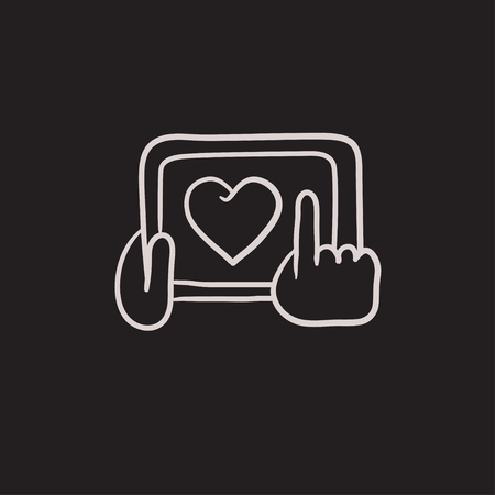 Hands holding tablet with heart sign vector sketch icon isolated on background. Hand drawn Hands holding tablet with heart sign icon. Hands holding tablet sketch icon for infographic, website or app. Ilustração