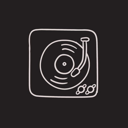 turntable: Turntable vector sketch icon isolated on background. Hand drawn Turntable icon. Turntable sketch icon for infographic, website or app.