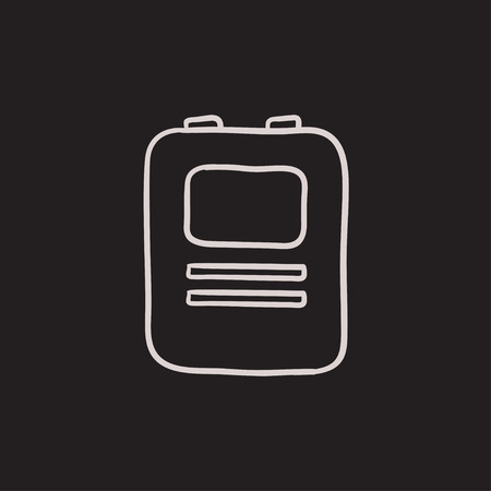 defibrillator: Heart defibrillator vector sketch icon isolated on background. Hand drawn Heart defibrillator icon. Heart defibrillator sketch icon for infographic, website or app. Illustration