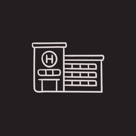 building sketch: Hospital building vector sketch icon isolated on background. Hand drawn Hospital building icon. Hospital building sketch icon for infographic, website or app.