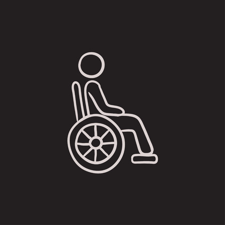 impairment: Disabled person vector sketch icon isolated on background. Hand drawn Disabled person icon. Disabled person sketch icon for infographic, website or app.