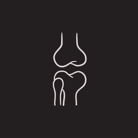 Knee joint vector sketch icon isolated on background. Hand drawn Knee joint icon. Knee joint sketch icon for infographic, website or app.