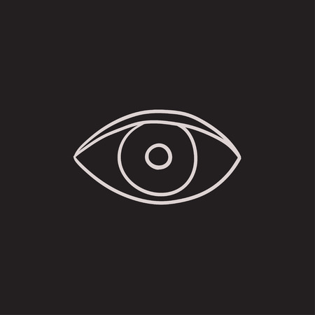 Eye vector sketch icon isolated on background. Hand drawn Eye icon. Eye sketch icon for infographic, website or app.