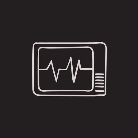 heart monitor: Heart monitor vector sketch icon isolated on background. Hand drawn Heart monitor icon. Heart monitor sketch icon for infographic, website or app.