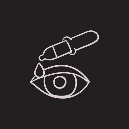 Pipet en oog vector schets pictogram geïsoleerd op de achtergrond. Hand getekend pipet en oog pictogram. Pipet en oogschets pictogram voor infographic, website of app. Stock Illustratie