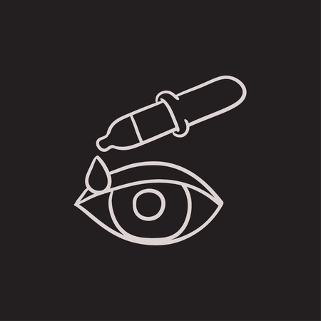 eye pipette: Pipette and eye vector sketch icon isolated on background. Hand drawn Pipette and eye icon. Pipette and eye sketch icon for infographic, website or app. Illustration