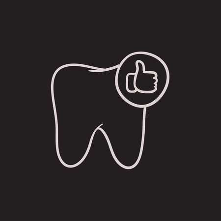 Healthy tooth vector sketch icon isolated on background. Hand drawn Healthy tooth icon. Healthy tooth sketch icon for infographic, website or app.