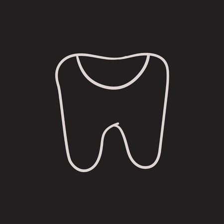 crumbling: Tooth decay vector sketch icon isolated on background. Hand drawn Tooth decay icon. Tooth decay sketch icon for infographic, website or app. Illustration