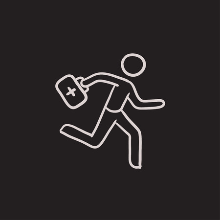 paramedic: Paramedic running with first aid kit vector sketch icon isolated on background. Hand drawn Paramedic with first aid kit icon. Paramedic with first aid kit sketch icon for infographic, website or app.
