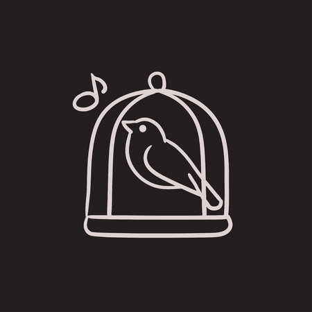 Bird singing in cage vector sketch icon isolated on background. Hand drawn Bird singing in cage icon. Bird singing in cage sketch icon for infographic, website or app. Illustration