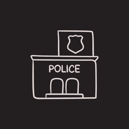 precinct station: Police station vector sketch icon isolated on background. Hand drawn Police station icon. Police station sketch icon for infographic, website or app.