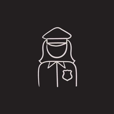 femme policier: Policewoman vector sketch icon isolated on background. Hand drawn Policewoman icon. Policewoman sketch icon for infographic, website or app. Illustration