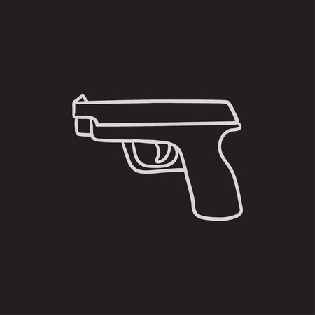 Handgun vector sketch icon isolated on background. Hand drawn Handgun icon. Handgun sketch icon for infographic, website or app. 向量圖像