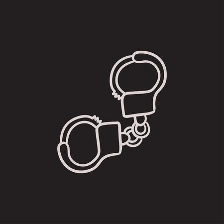Handboeien vector schets pictogram op een achtergrond. Hand getrokken Handcuffs icoon. Handcuffs schets pictogram van infographic, website of app. Stockfoto - 63446654