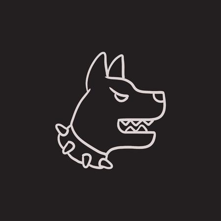 Aggressive police dog vector sketch icon isolated on background. Hand drawn Aggressive police dog icon. Aggressive police dog sketch icon for infographic, website or app. Illusztráció