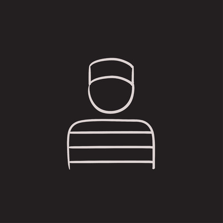 detained: Prisoner vector sketch icon isolated on background. Hand drawn Prisoner icon. Prisoner sketch icon for infographic, website or app. Illustration
