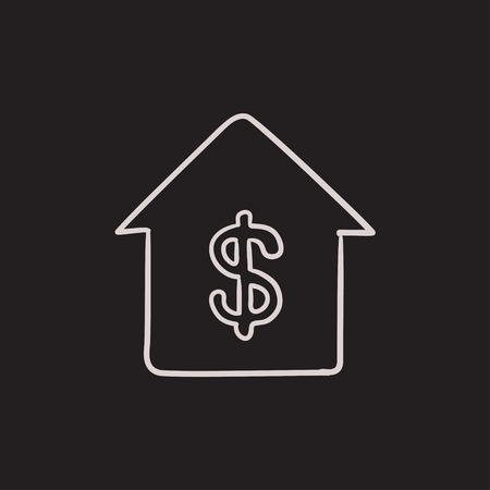 to invest: House with dollar symbol vector sketch icon isolated on background. Hand drawn House with dollar symbol icon. House with dollar symbol sketch icon for infographic, website or app.