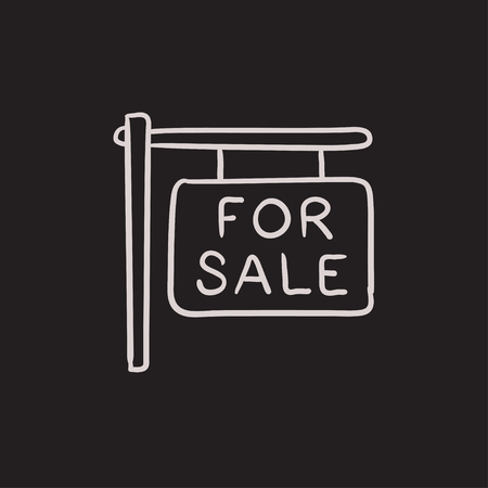 for sale: For sale placard vector sketch icon isolated on background. Hand drawn For sale placard icon. For sale placard sketch icon for infographic, website or app.