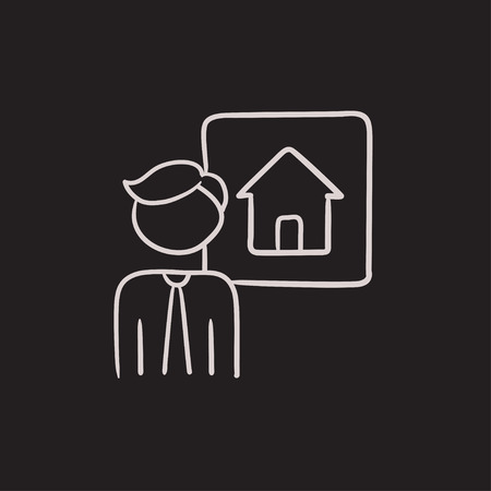possession: Real estate agent vector sketch icon isolated on background. Hand drawn Real estate agent icon. Real estate agent sketch icon for infographic, website or app.
